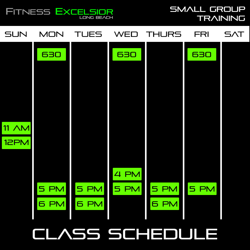 Long Beach Small Group Training Schedule