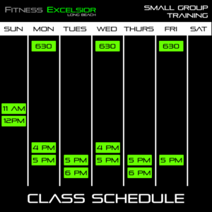 Small Group Personal Training Schedule